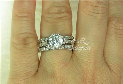 3 Piece Round Cut Wedding Ring Set Size 8