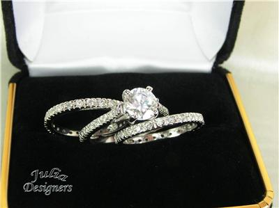 free beautiful double ring gift box for your new ring set - 3 Piece Wedding Rings