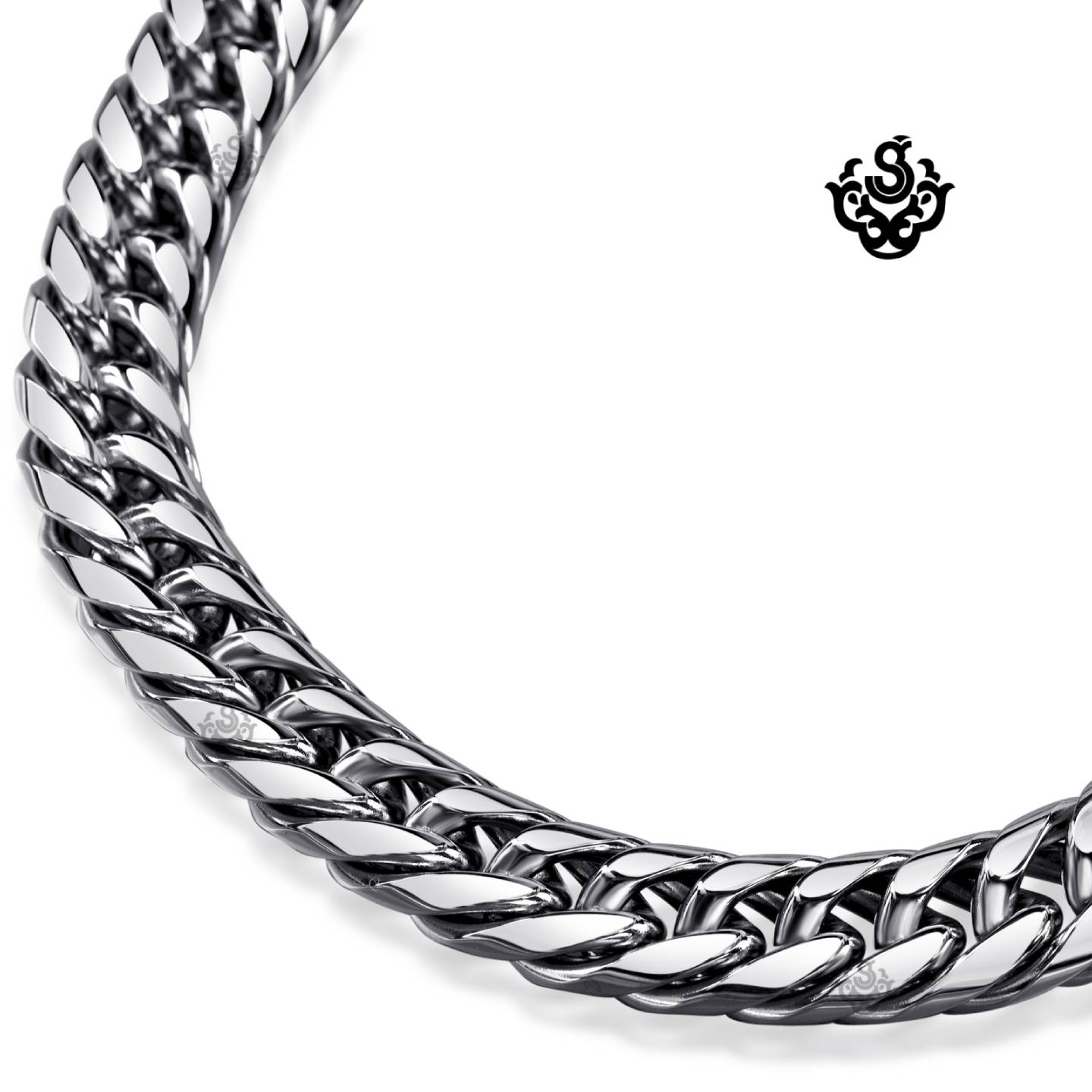 Silver Necklace Solid Stainless Steel Miami Cuban Link