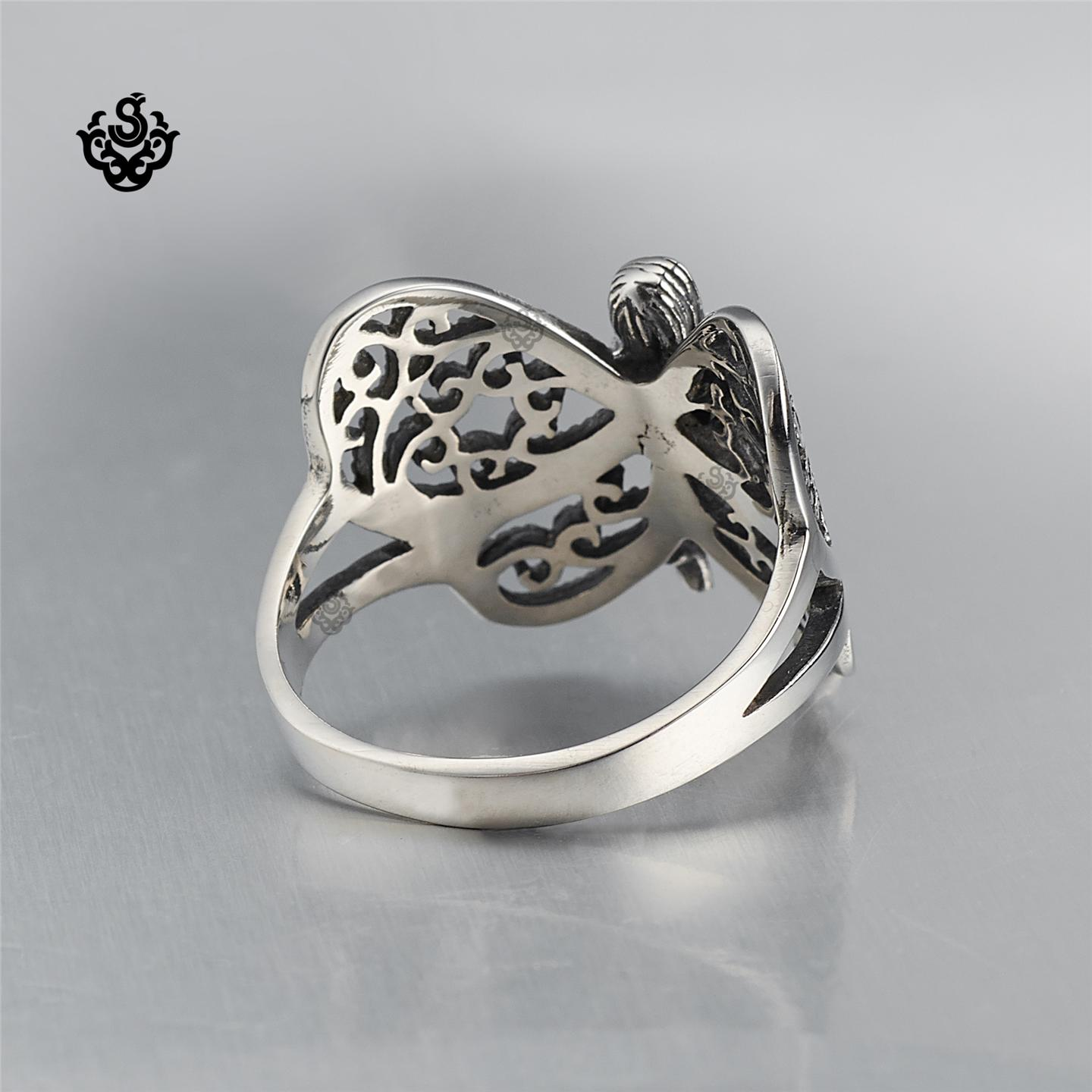 Filigree Ring Bands: Silver Ring Solid Stainless Steel Butterfly Fairy Filigree