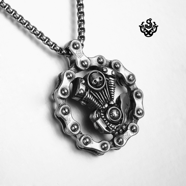Silver Bike Chain Motor Engine Pendant Stainless Steel