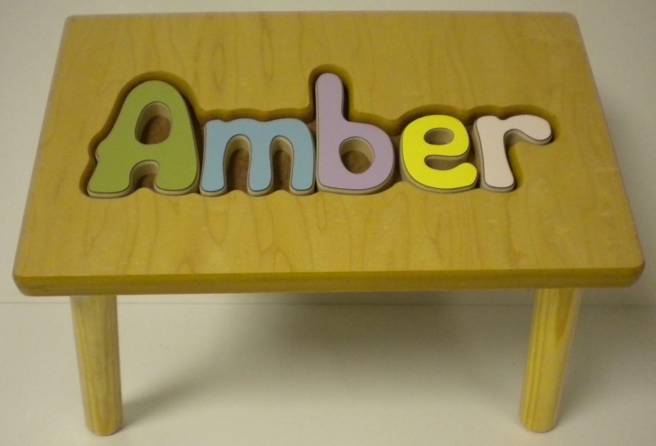 Personalized Child Wood Stool Name Puzzle Pastel Long Ebay