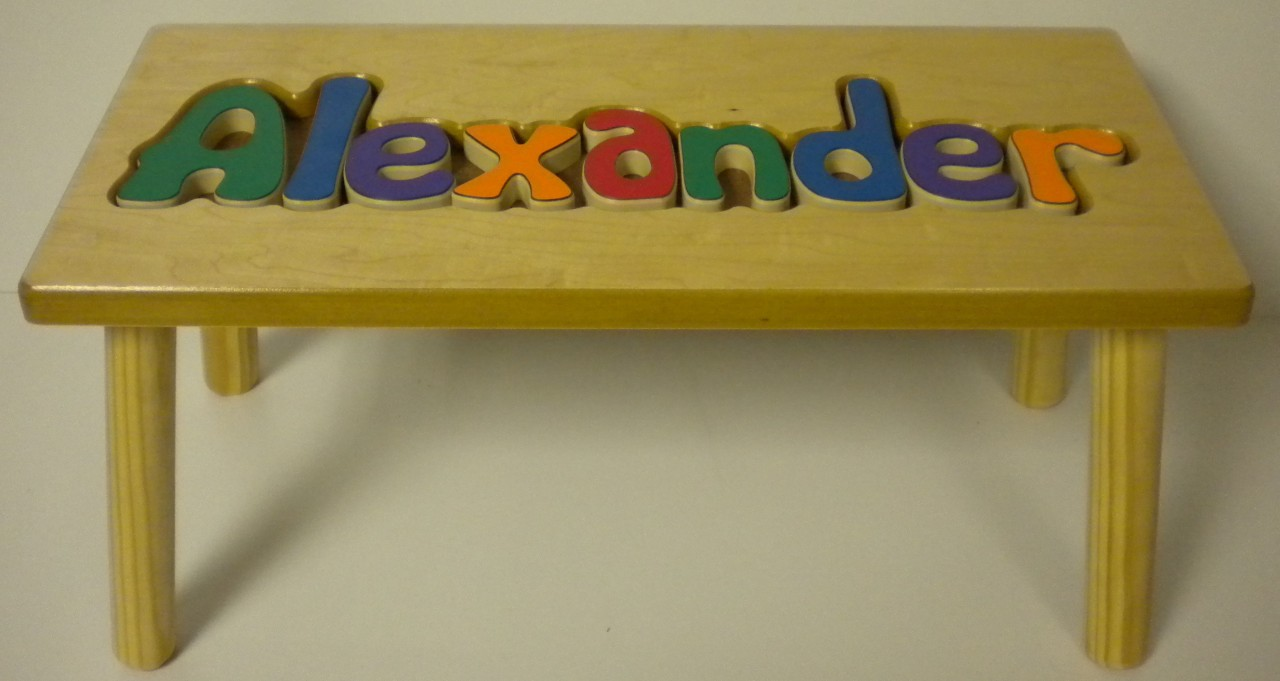 PERSONALIZED CHILD WOOD STOOL NAME PUZZLE PRIMARY SHORT
