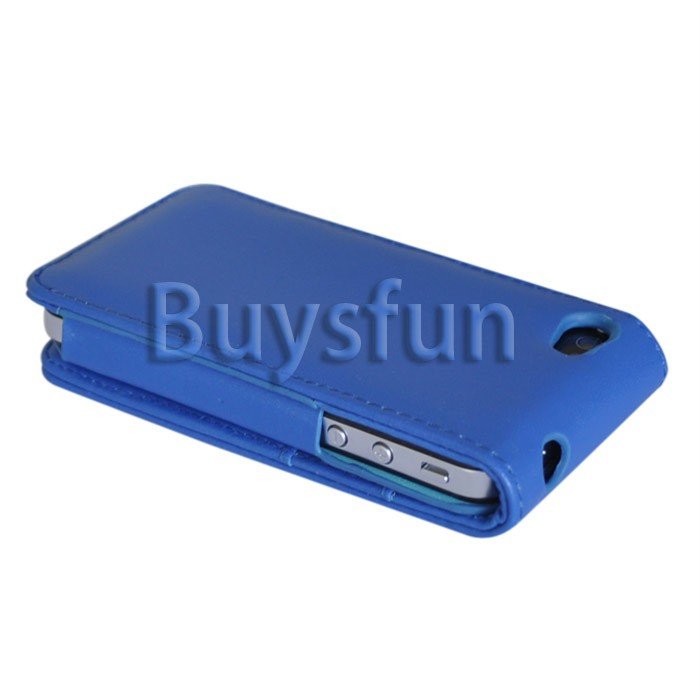 BLUE FLIP VERTICAL LEATHER CASE COVER FOR IPHONE 4 4G 4S