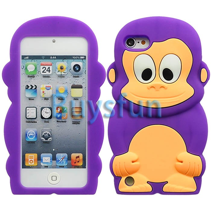 Purple Cute Monkey Style Silicone Cover Case for iPod Touch 5 5g 5th