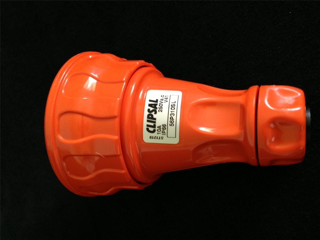 Clipsal-56-Series-Plug-IP66-250V-10A-2-Flat-Pins-Round-Earth-56P310SL-Orange