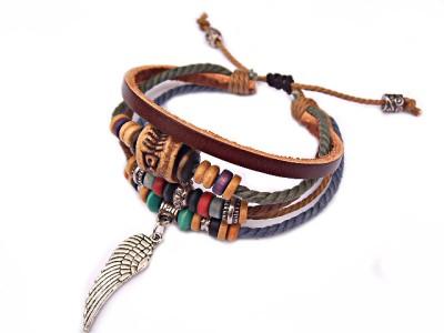 Hemp Tribal Ethnic Surfer Bali Style Bracelet Angel Wing Feather Charm