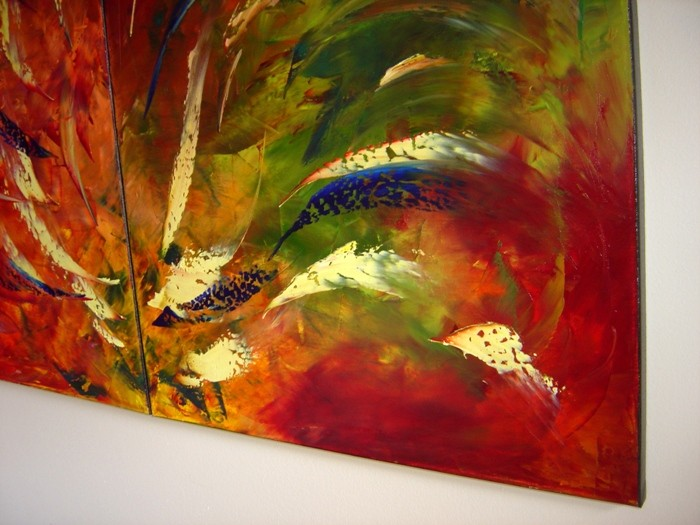 ORIGINAL FINE ART ABSTRACT MODERN OIL PAINTING DECOR Eugenia Abramson