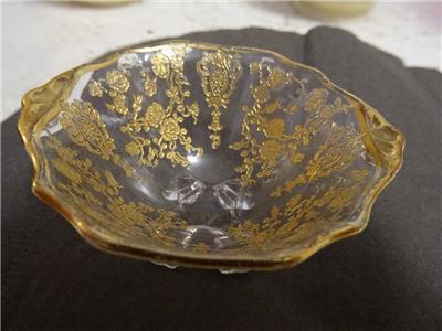 cambridge glass rose point gold encrusted open salt ebay. Black Bedroom Furniture Sets. Home Design Ideas