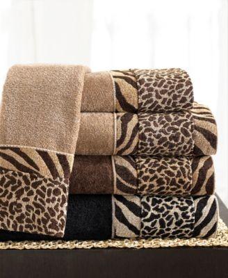 New Avanti Cheshire Animal Print Mocha Hand Towel Bath