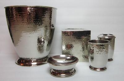 New paradign trends bathroom accessories 5 piece set loren silver hammered metal ebay for Hammered metal bathroom accessories