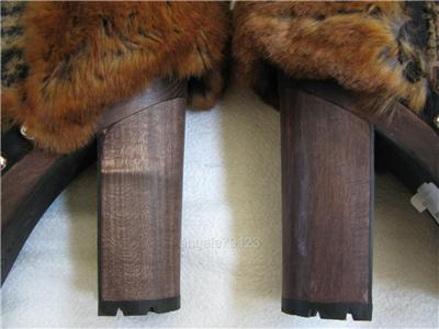 Mens Boots Fashion Fall 2010 on 1675 Chanel Fall 2010 Tweed Fur Knee High Platform Boots 40   Ebay