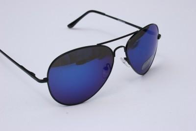 aviator blue sunglasses  Blue mirror aviator SUNGLASSES Black frame 400UV Shades