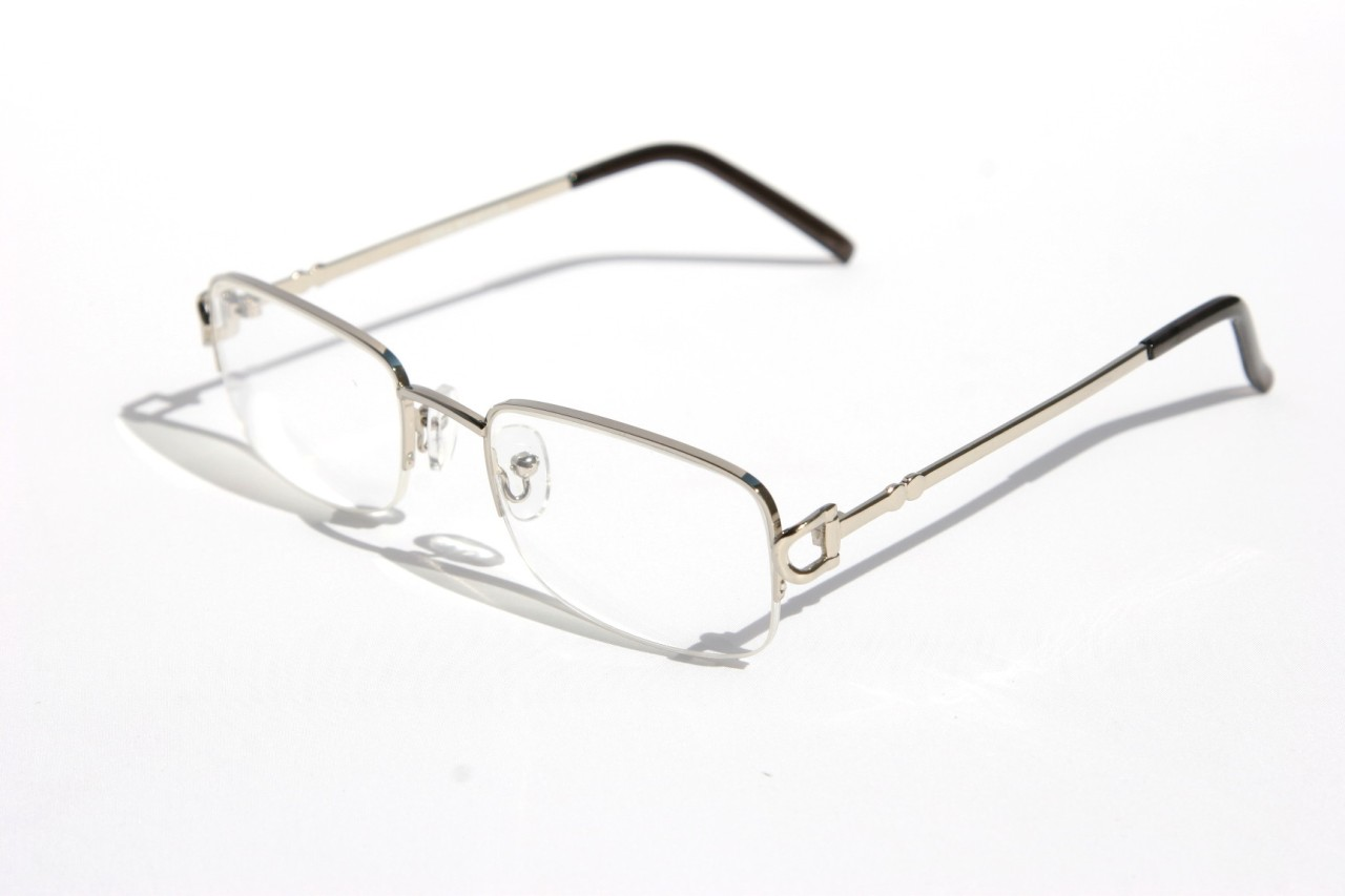 Rimless Clear Glasses : Men women rectangular slim half rimless smart looking eye ...
