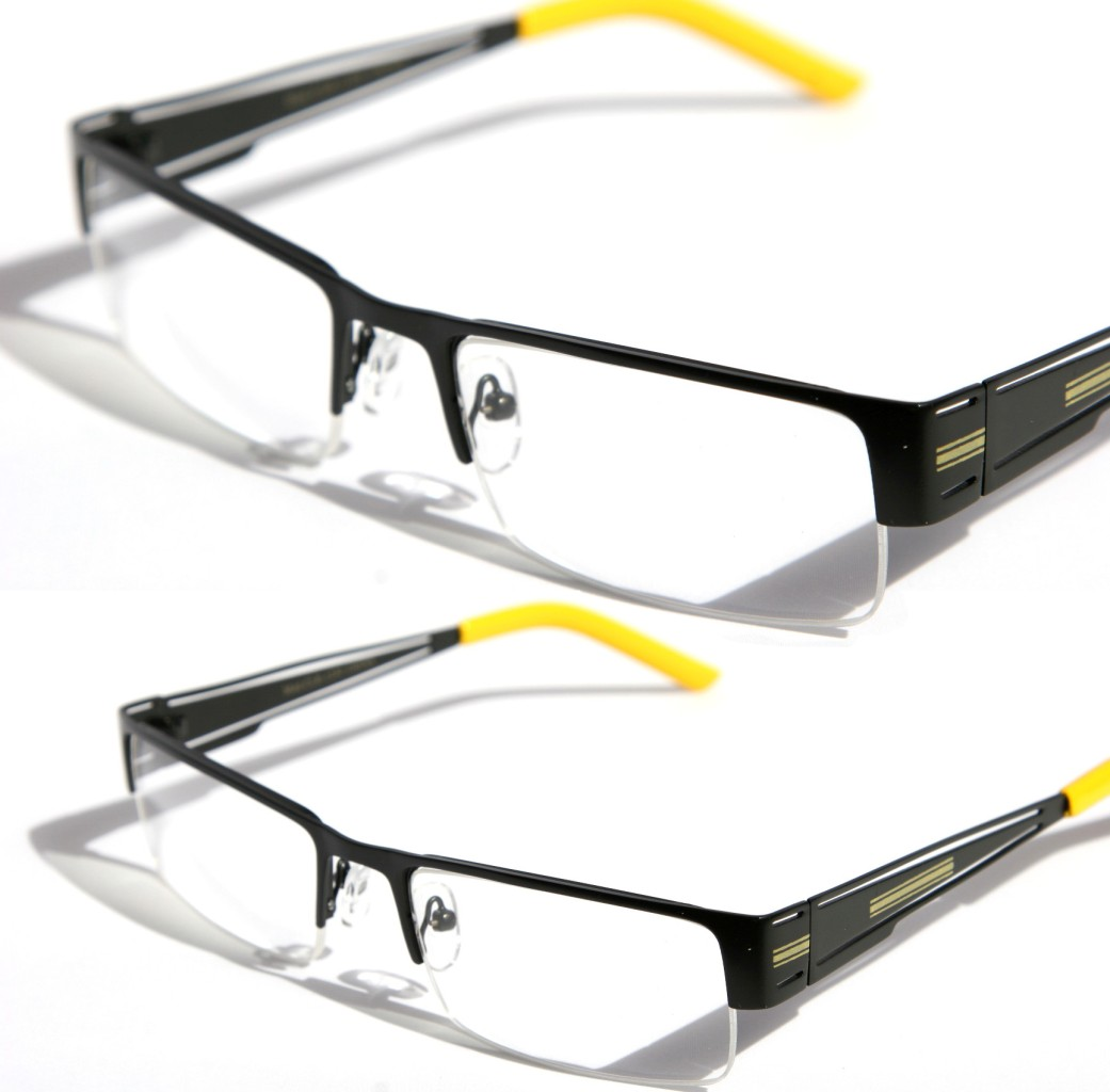 Rimless Clear Glasses : Rectangular Half Rimless Metal Sun-Glasses Optical RX ...