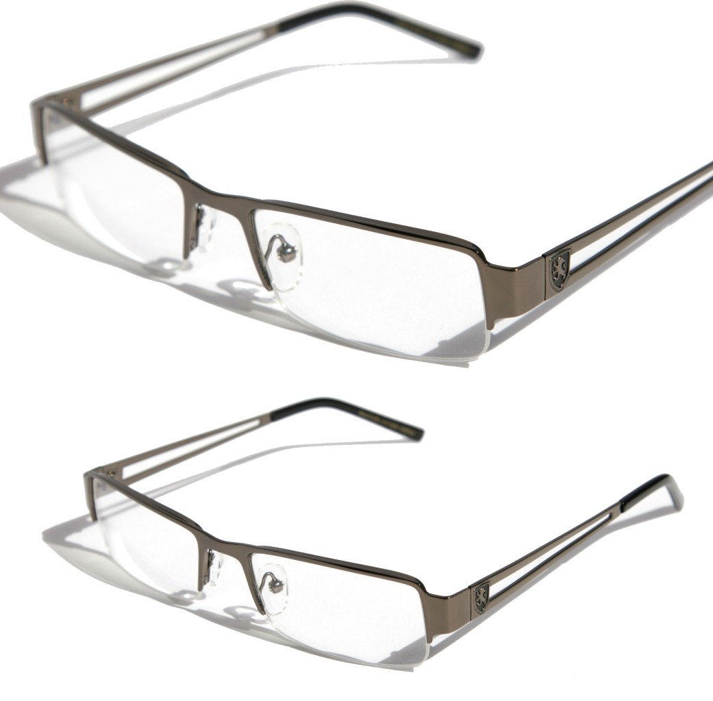 Rimless Rectangle Glasses : Khan Lightweight Rectangular Half Rimless Metal Sun ...