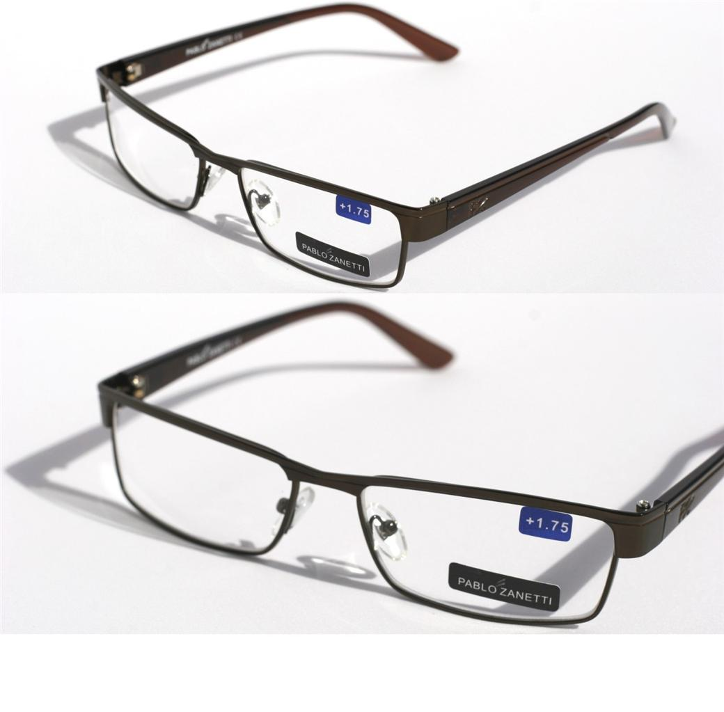 unisex pablo zanetti metal reading glasses slim rectangle