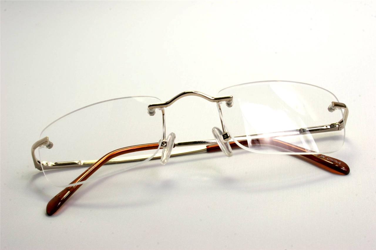 Rectangular-slim-rimless-smart-looking-eye-glasses-RX-clear-lens-palin-smart
