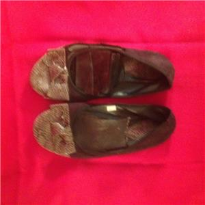 Well Worn Used Womens Cloth Black Flats Ballet Shoes - Private