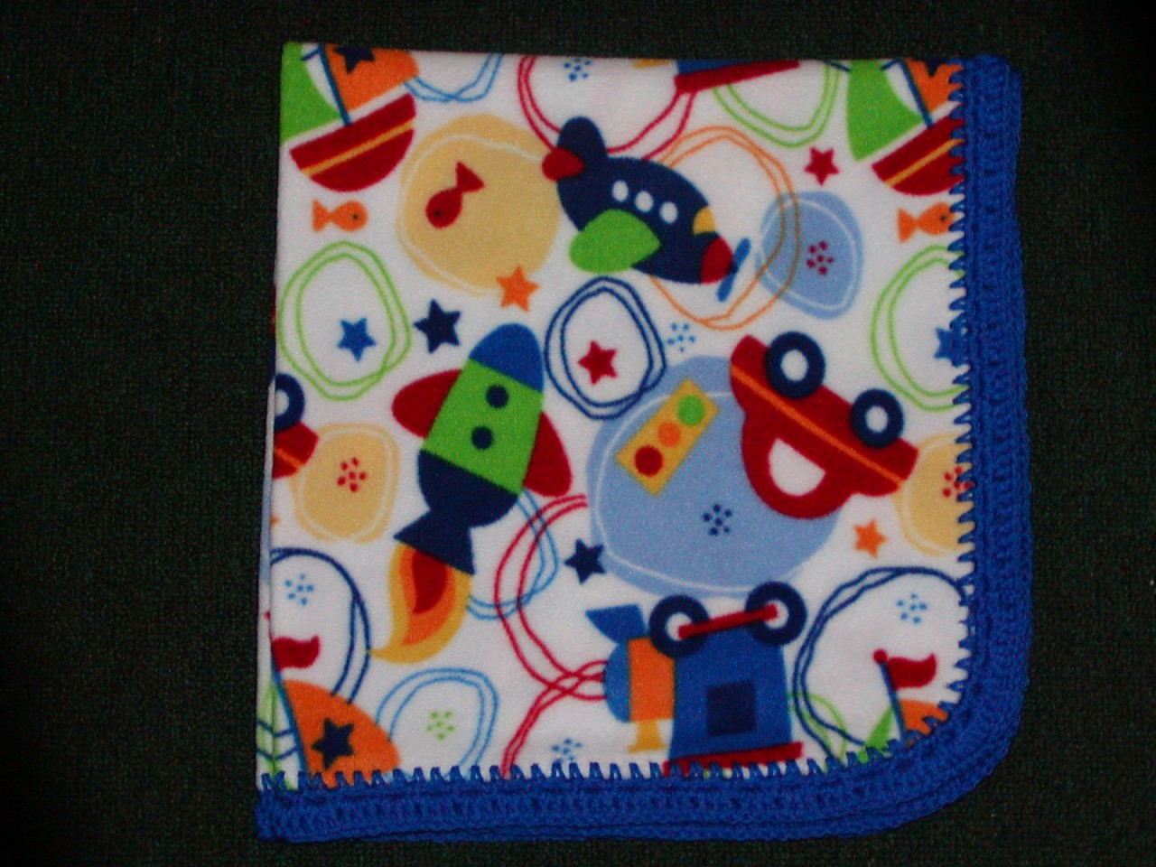 CRADLE-RECEIVING-BLANKET-SCATTERED-BOY-TOYS-RED-or-BLUE