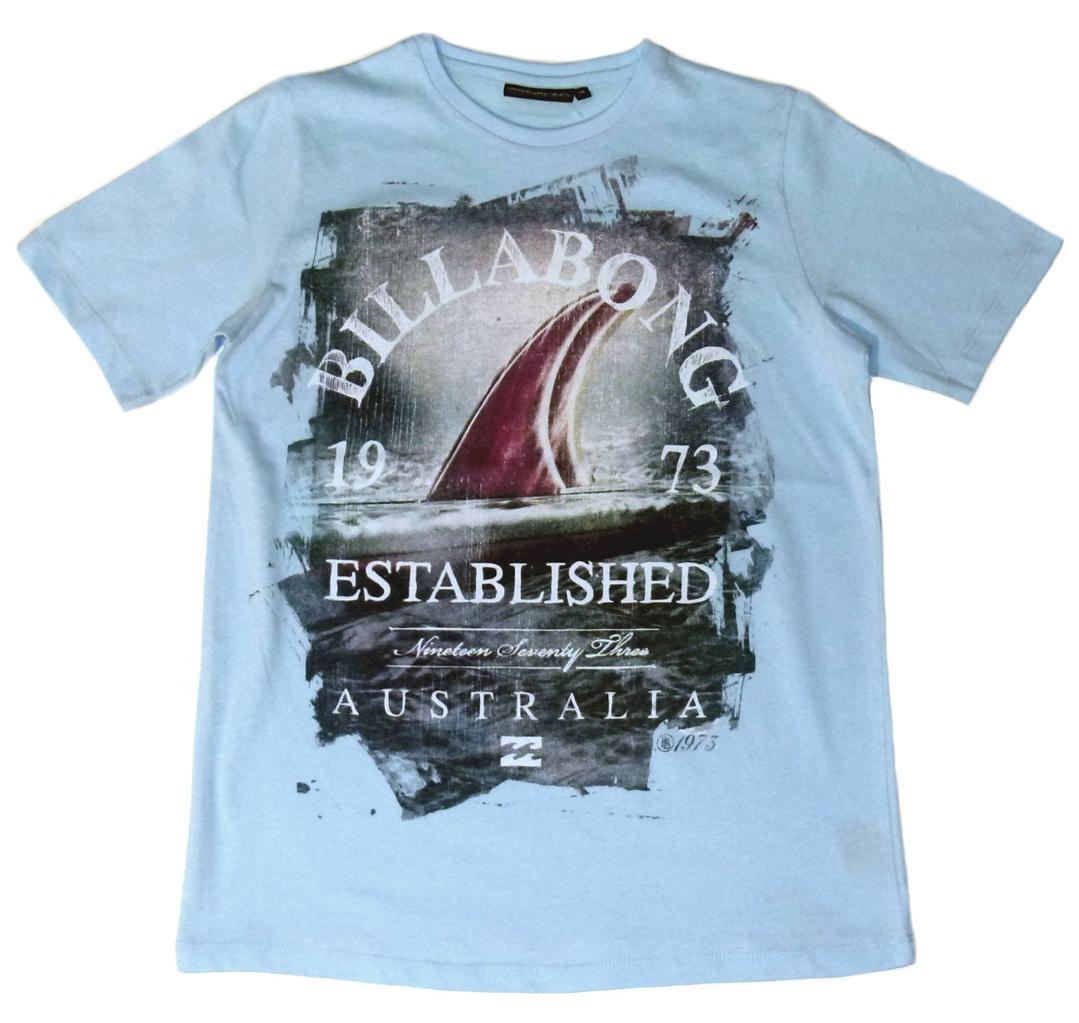 BILLABONG-New-Boys-Surf-Short-Sleeve-T-Shirt-Tee-Blue-Drifter-Size-16