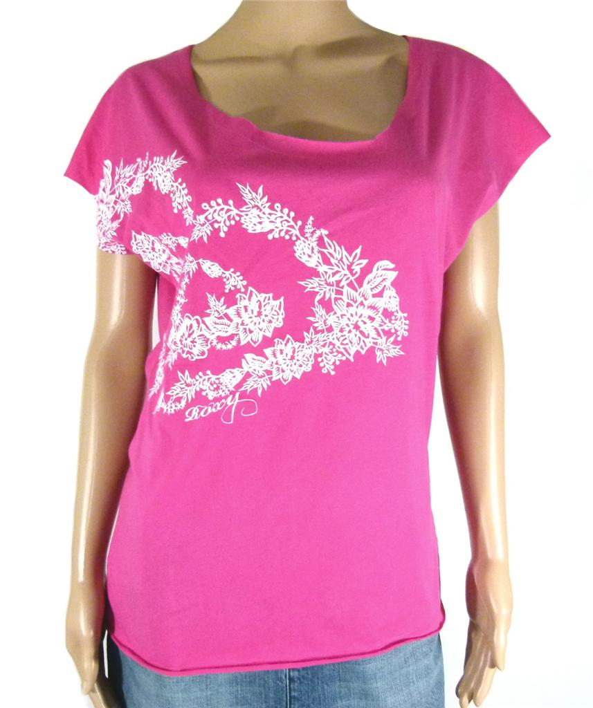 ROXY-New-Ladies-Womens-T-Shirt-Top-Tee-White-Black-Pink-Indigo-Size-6-8-10