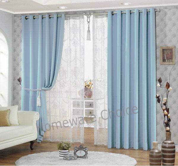 light blue ring top eyelet blockout curtain 140x230cm drop. Black Bedroom Furniture Sets. Home Design Ideas