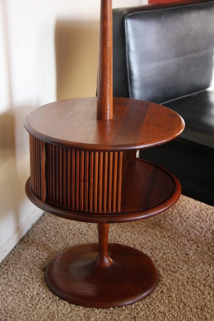 Vintage mid century danish modern teak floor lamp tambour for Floor lamp behind side table