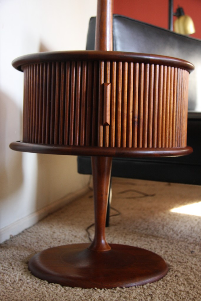 is this vintage mid century modern teak end table floor lamp. Black Bedroom Furniture Sets. Home Design Ideas
