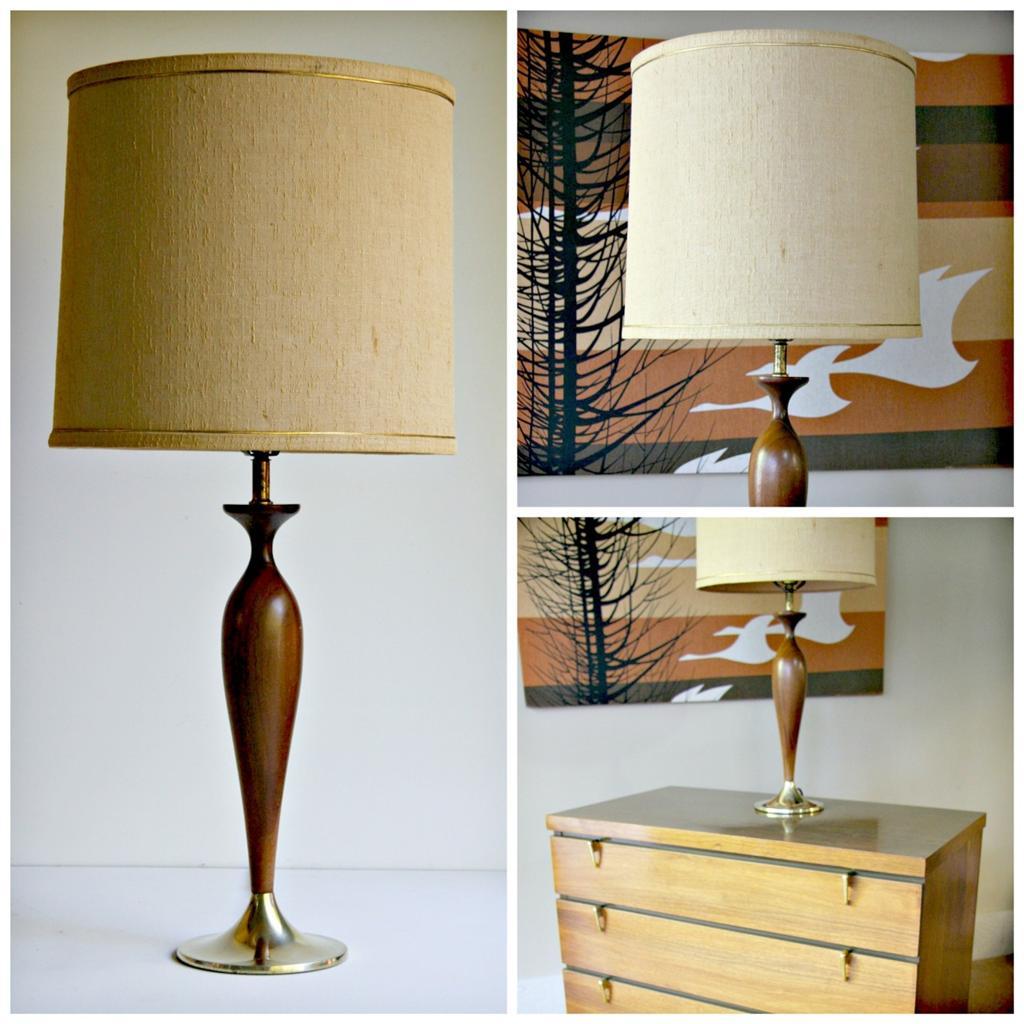60 39 s modernist mid century danish modern teak wood or walnut table lamp ebay. Black Bedroom Furniture Sets. Home Design Ideas