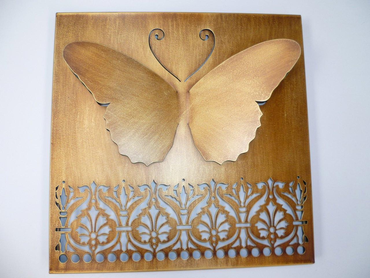 Gold Square Wall Decor : Metal wall art gold framed laser cut d butterfly cm