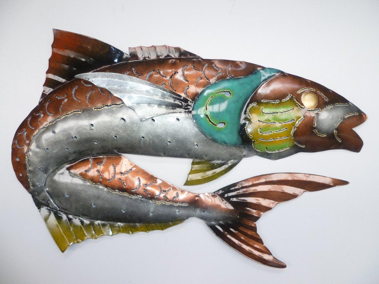 Fish salmon indoor outdoor metal wall art wall sculpture for Outside fish