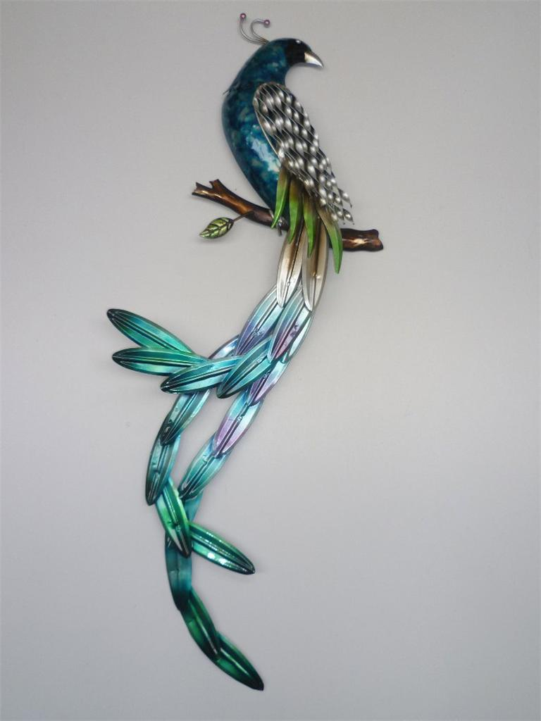Metal Wall Art Superb Long Tailed Peacock Bird Wall Decor