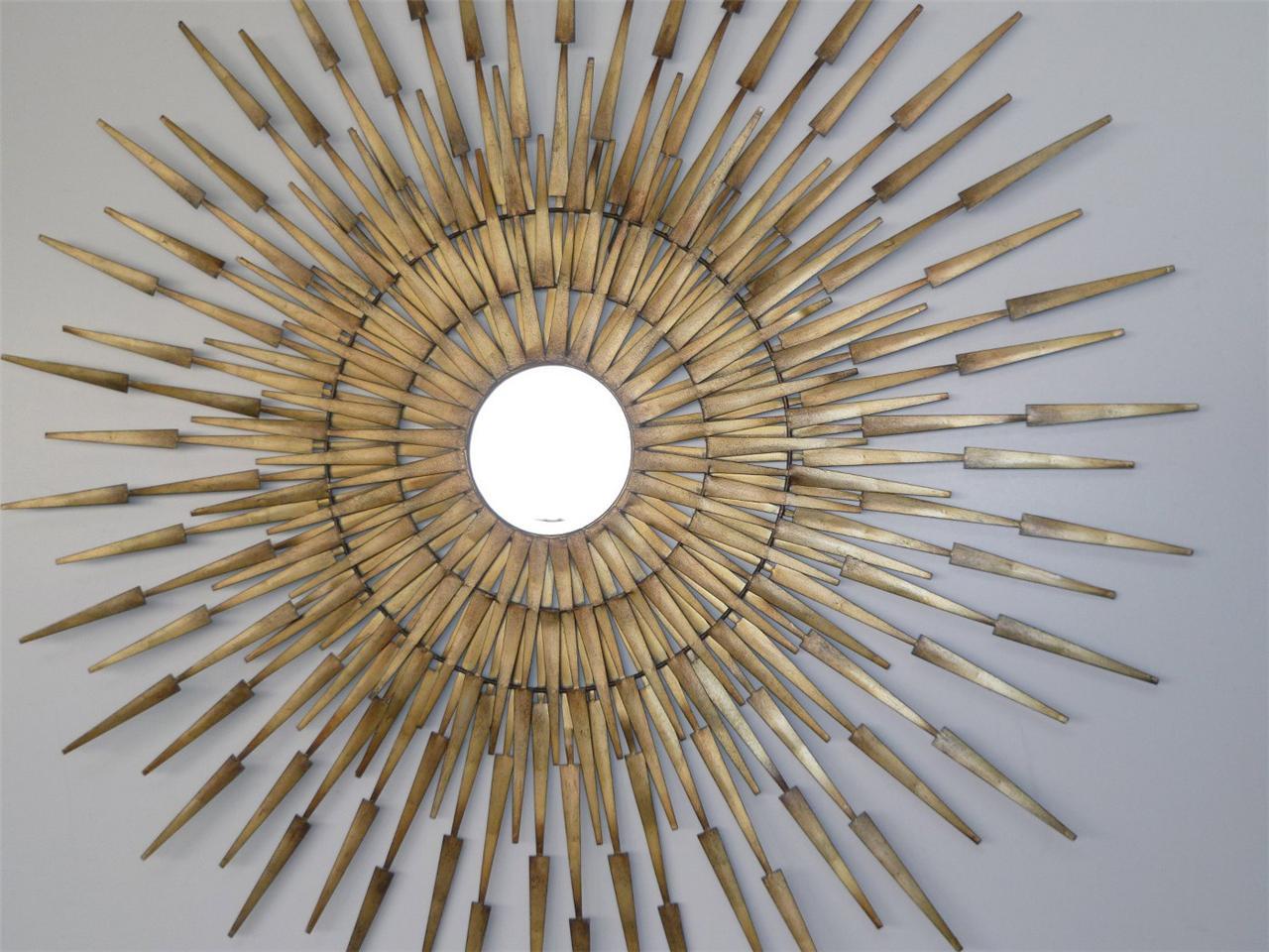 Metal wall art stunning gold sunburst mirrored wall decor for Sunburst wall art