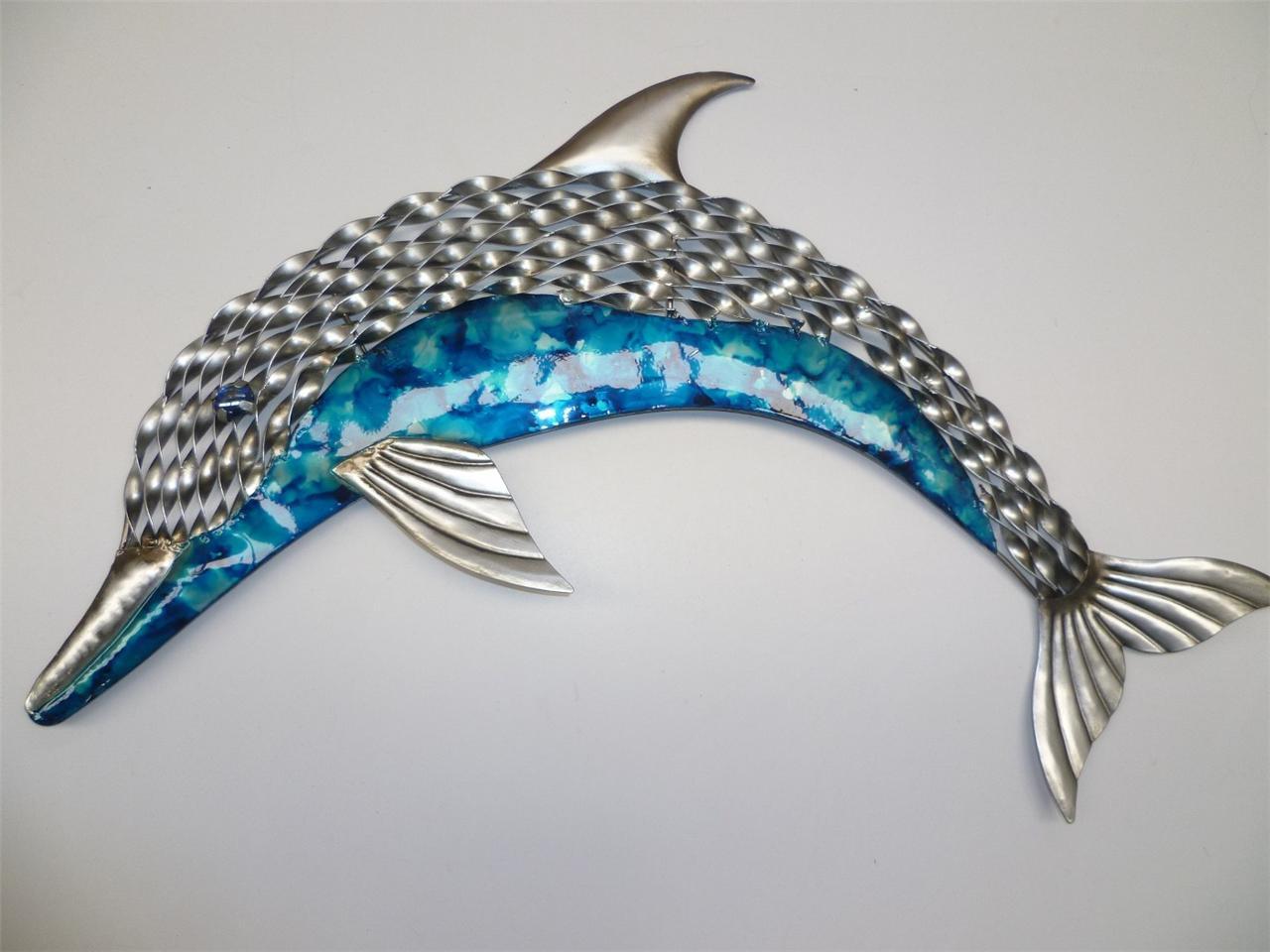 Dolphin Outdoor Wall Decor : Beautiful aqua silver dolphin indoor outdoor metal wall