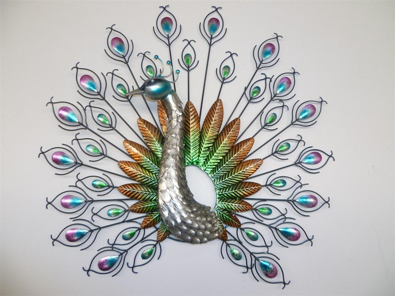 Metal wall art stunning 3d fantail peacock bird wall decor for Peacock wall art