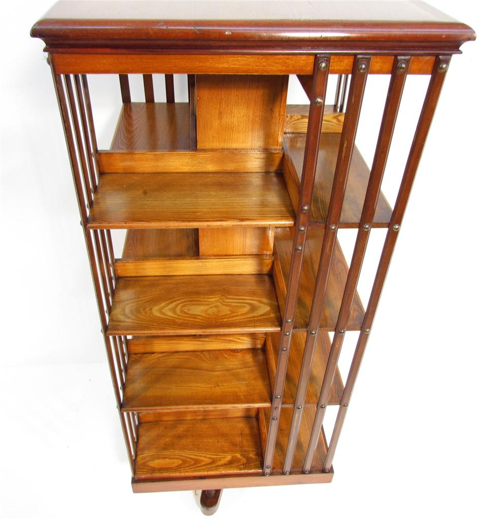Ebay Bookcases For Sale: A V Large Antique Elm And Walnut Revolving Bookcase C 1910