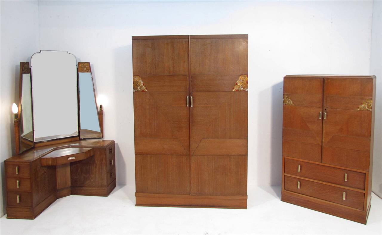 An antique art deco 1920 39 s limed oak bedroom suite wardobe for Ebay bedroom suites