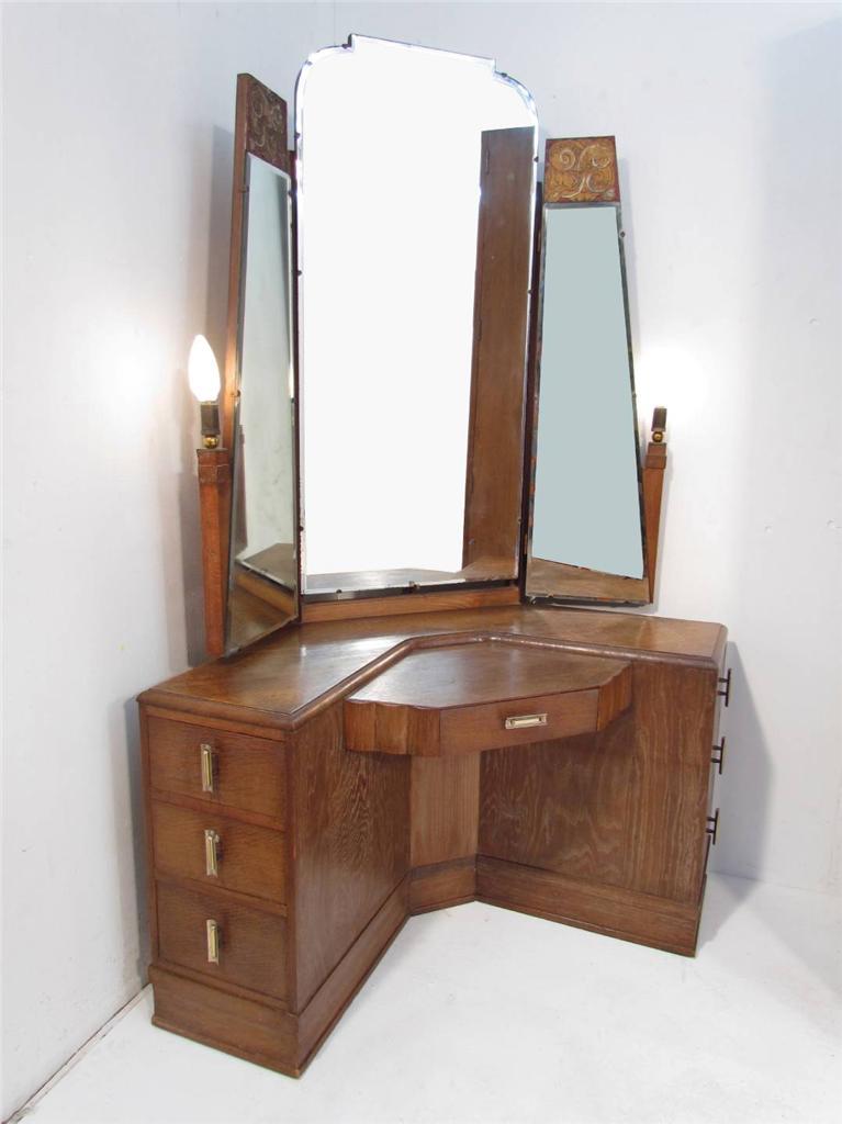 An antique art deco 1920 39 s limed oak bedroom suite wardobe dressing table ebay - Deco bed kind ...