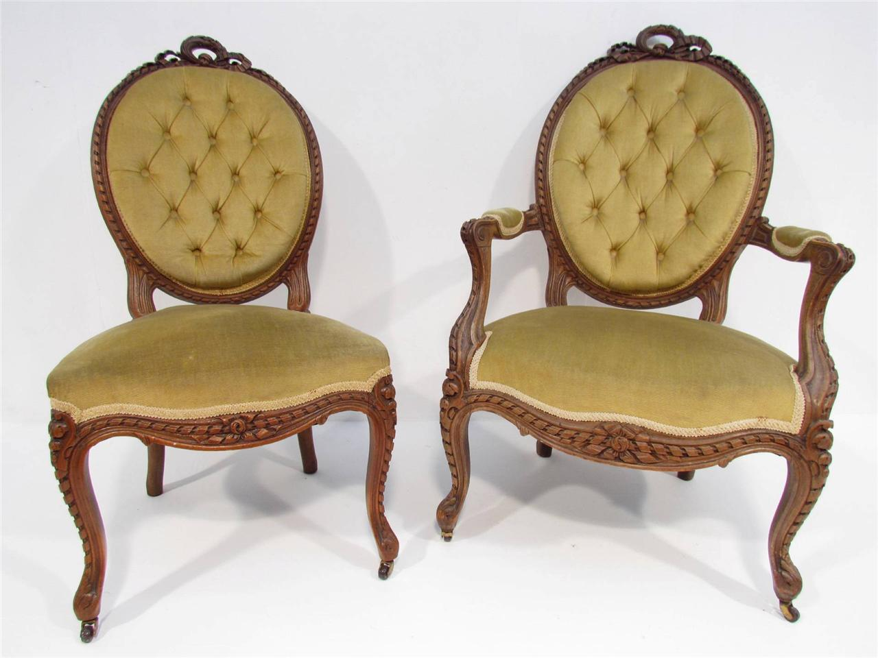 A Beautiful Pair of Antique French Oak Bedroom Chairs C 1920