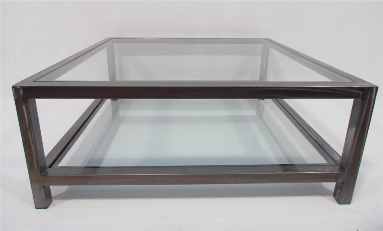 Large Unique Industrial Style Galvanized Steel And Glass Coffee Table