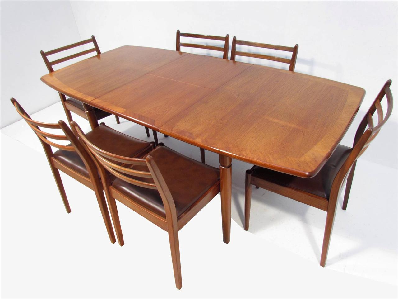 A good retro teak dining table and six chairs by g plan ebay for Dining table and 6 chairs
