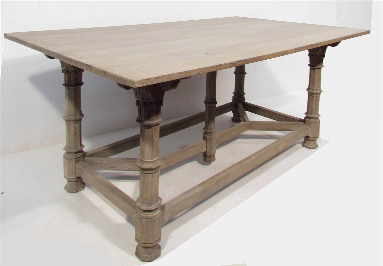 A Beautful Antique Gothic Painted Grey Refectory Dining Table EBay