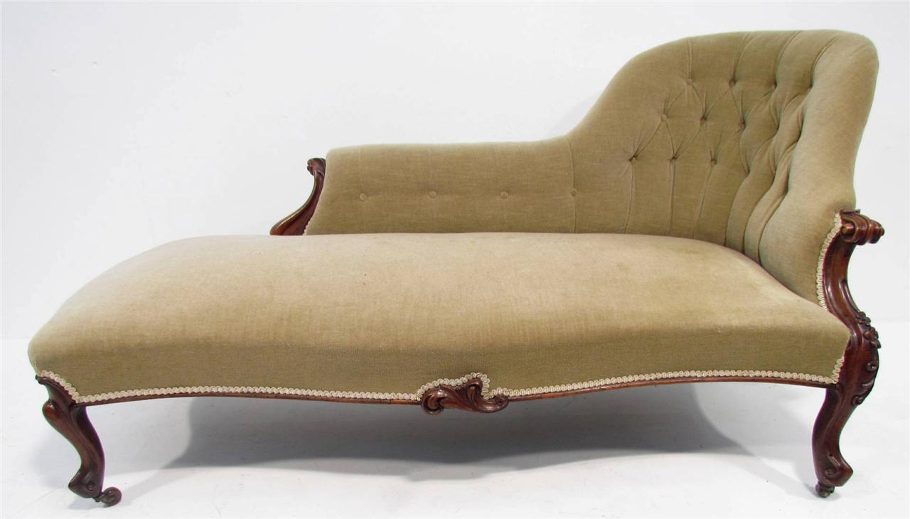 An antique 19th c rosewood sofa chaise lounge ebay for Antique wooden chaise lounge