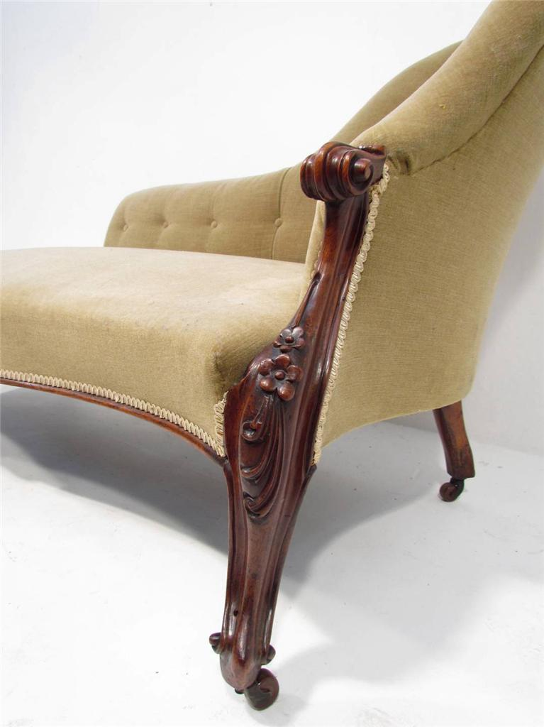 An antique 19th c rosewood sofa chaise lounge ebay for Antique style chaise lounge