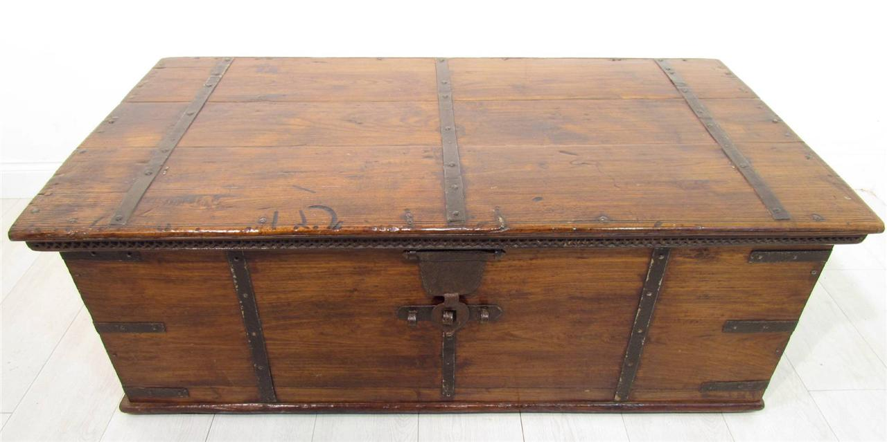 large antique 18th c iron bound teak coffer trunk coffee table