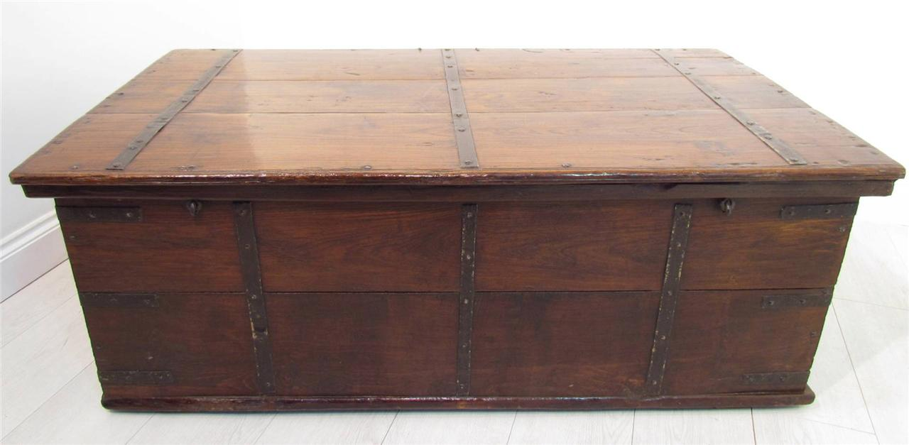 A large antique 18th c iron bound teak coffer trunk coffee for Coffee tables 18 inches wide