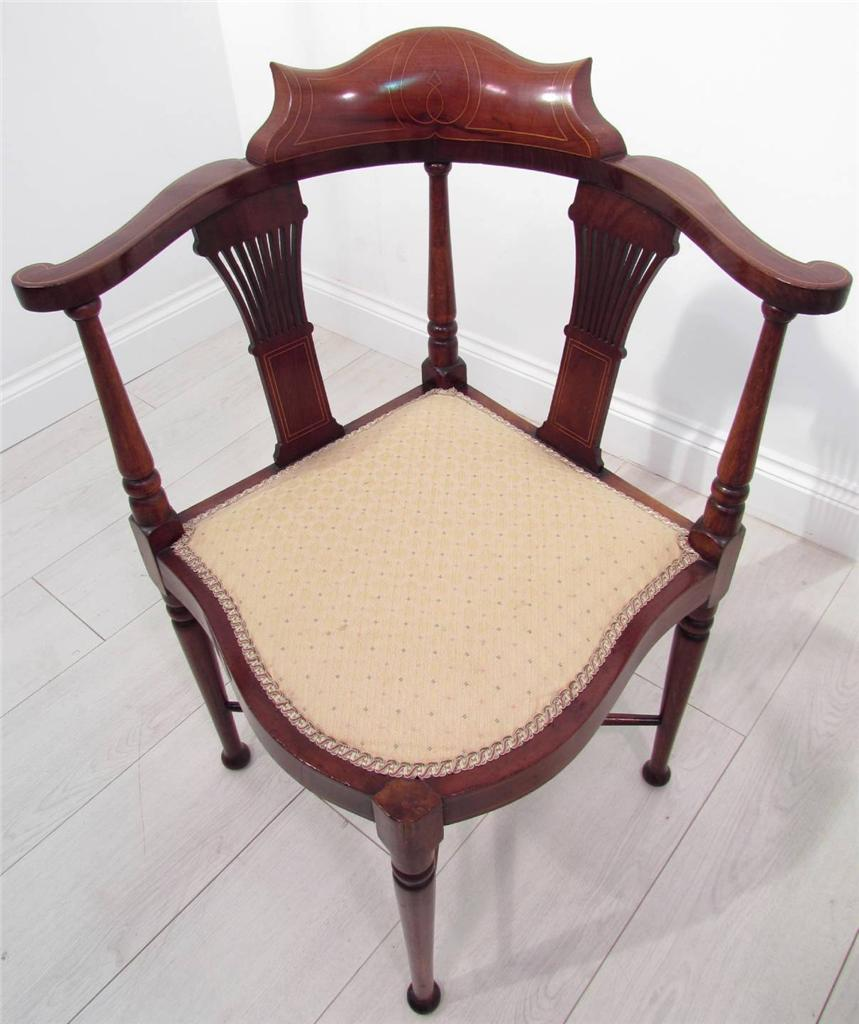 A Good Pair OF Antique Mahogany Bedroom Corner Chairs EBay