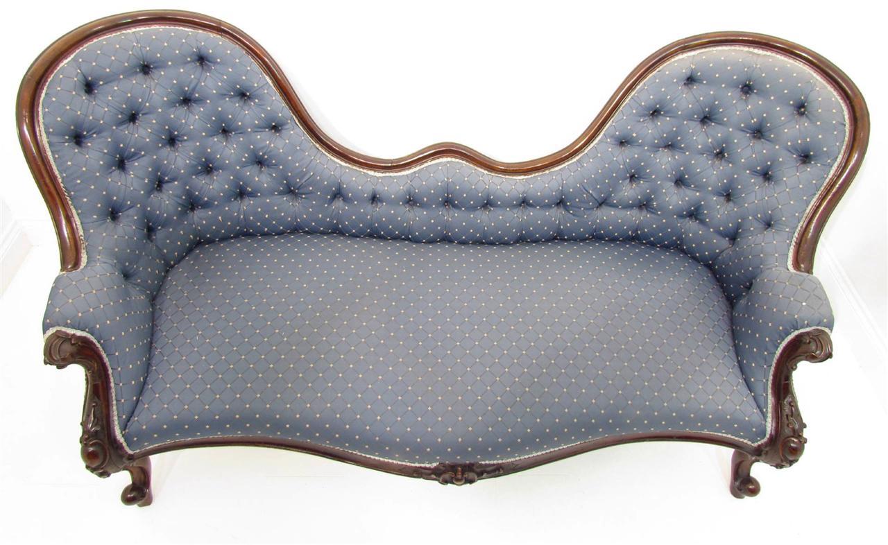 An good antique 19th c mahogany sofa chaise loungue ebay for Antique mahogany chaise lounge