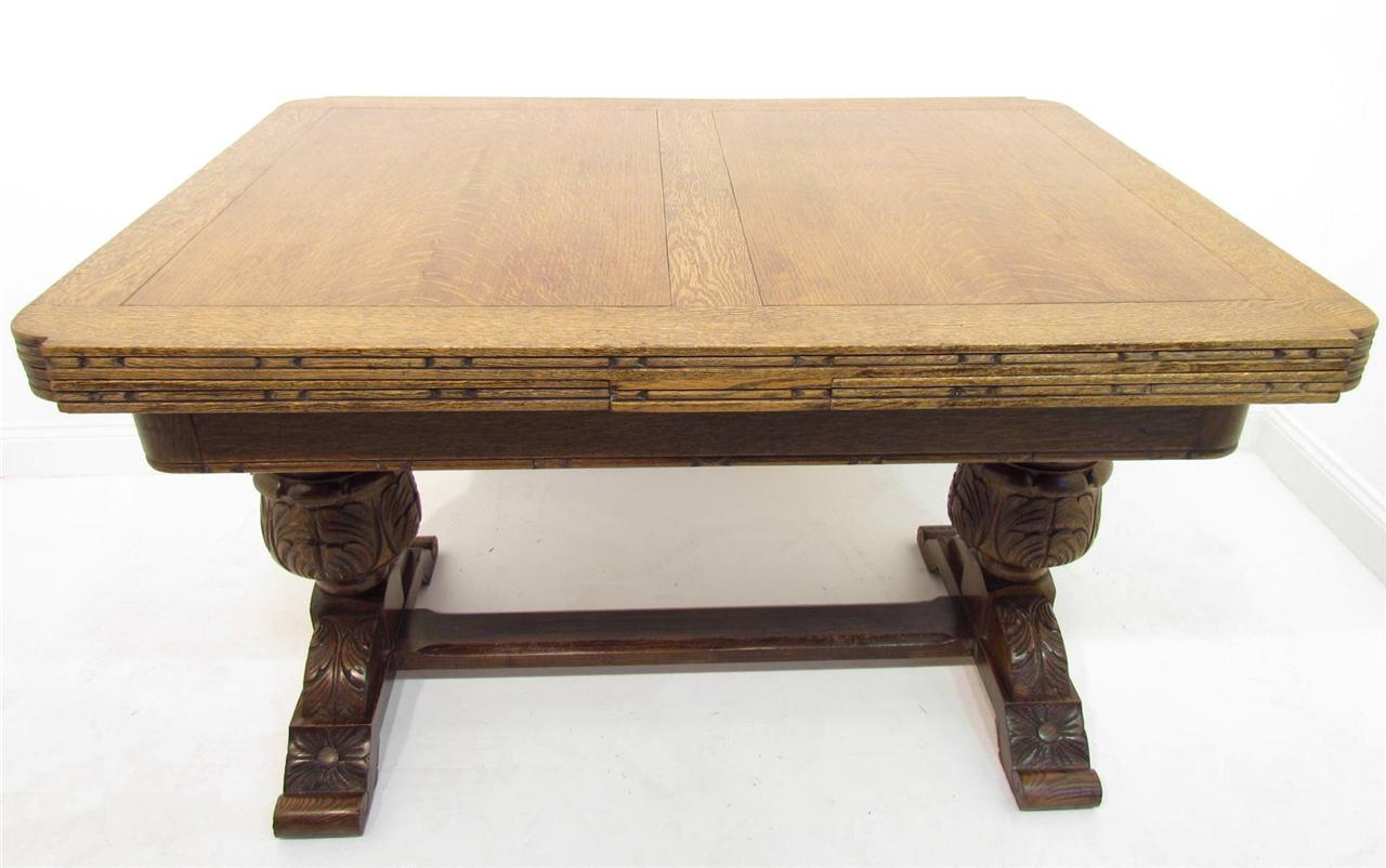 antique style solid oak refectory dining table and six chairs suite